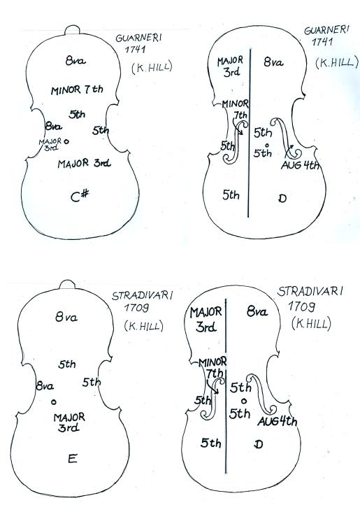 dibujos de violines guarnieri y stradivari